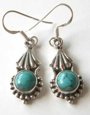 Turquoise Silver Earrings  (TIRE07)