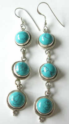 Turquoise Silver Earrings (TE11)