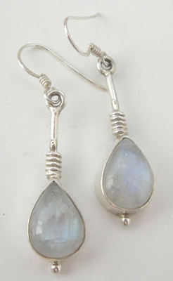 Moonstone milky white silver earrings (ME01)
