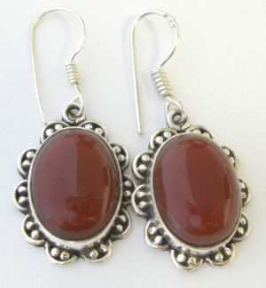 Carnelian Silver Earrings Fancy design (CAE02)