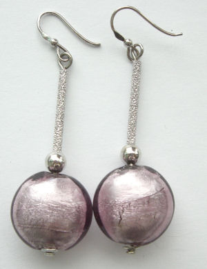 Lilac Murano glass Lampwork bead earrings  with silver (M-A-408)