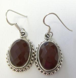 Garnet silver Earrings Large Faceted (G001E)