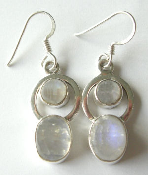 Moonstone pearly white stone silver earrings  (ME02)