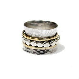 Spinning Ring - Silver with brass & Silver - POM (A0013)