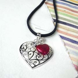 Silver Heart Necklace with pink heart & crystal (00830)