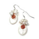 White drop earrings with pearl flowers -  DV0090