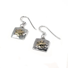 Silver drop earrings with brass flower inlays  (EG0109A )