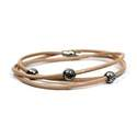 Bracelet - Taupe wrap around leather bracelet with beads - 00690