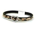 Bracelet leopard print with silver crystal studded heart - 00789