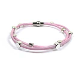 Bracelet - PINK wrap around leather bracelet with beads - 00684