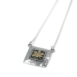 Silver Square Necklace with Brass Flower inlaid (NG0109)