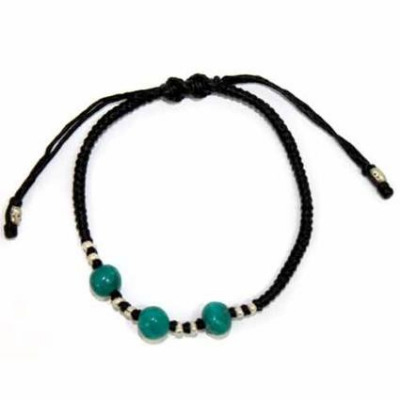Bracelet Silver Turquoise with Black wax cord