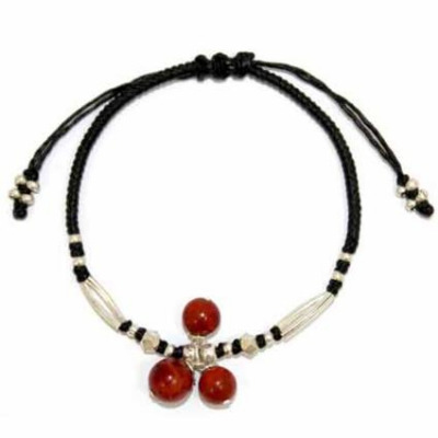 Bracelet Silver & Coral with Black wax cord