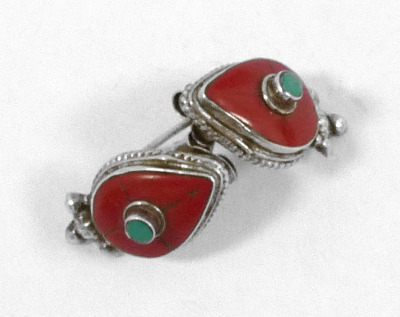 Silver  earrings with  turquoise Turquoise & red Agate (131919)