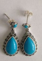 Turquoise silver earrings Persian (T1405)