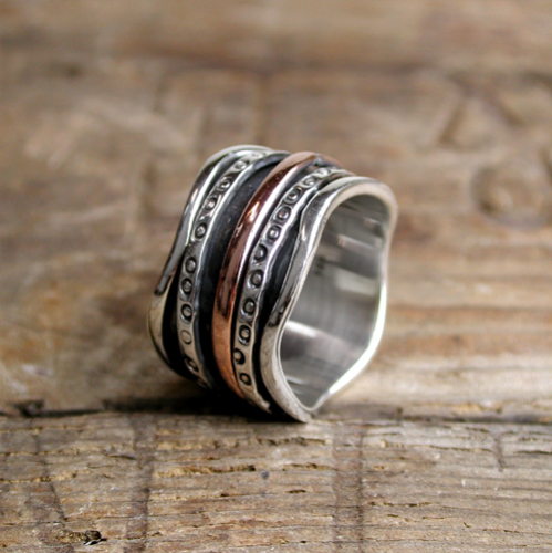 Spinning Ring - Silver with brass & Copper (A0017)