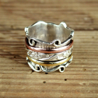 Spinning Ring - Sterling Silver brass & copper moving ring - POM (A0021)