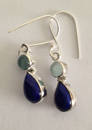Lapiz Lazuli Silver Earrings with Moonstone (LL001)