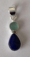 Lapiz Lazuli Silver Pendant with Moonstone