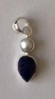 Lapiz Lazuli Silver Pendant with Pearl