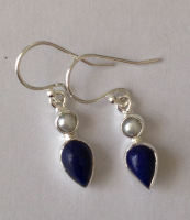 Lapiz Lazuli Silver Earrings with Pearl (LL002)