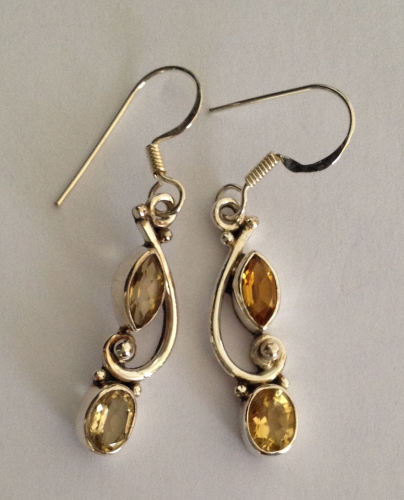 Topaz Yellow Stone Silver Drop Earrings (YT001)