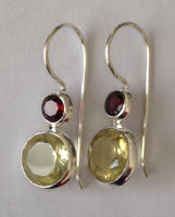 Topaz Yellow Stone Silver Drop Earrings with Ruby (YTR002)