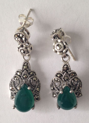 Green Agate silver  earrings (J02E)