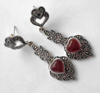 Carnelian silver earrings Hearts (C04E)