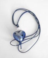 Blue heart pendant Murano lampwork (M-Heart-022P)