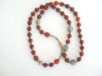 Carnelian Bead Necklace with silver (Car005B)