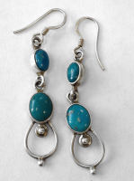 Turquoise Silver Earrings  (TE12)