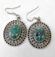 Turquoise and fancy silver dangle earrings  (TE13)