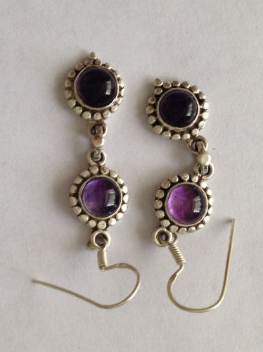 Amethyst Purple Silver Earrings Fancy design (AE06)