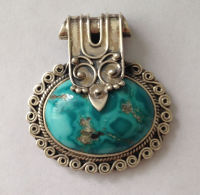 Blue Turquoise silver Oval pendant (TP07)