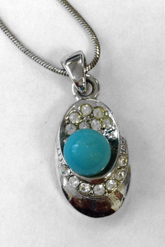 Turquoise Blue Stone silver necklace  (TP08)