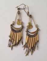 Earrings from Peru - Brass & bamboo PO9