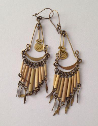 Earrings from Peru - Brass & bamboo PO9