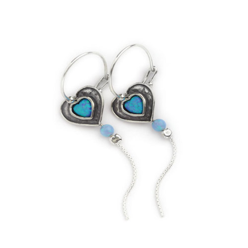 Hoop Earrings Silver with Opals  - Aviv