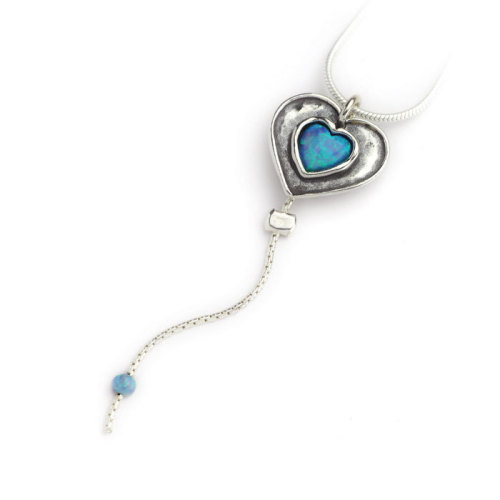 Silver necklace with opal heart pendant and dangly chain  - Aviv