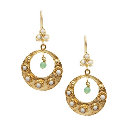 Earrings with pearl & green  agate - Ottoman Hands ' Bazaar ' (OH/E213)