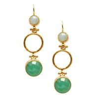 Mother of Pearl and Aqua Chalcedony Hoop Earrings - Ottoman Hands (OH/E214)