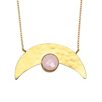Dusky Pink Cats Eye Crescent Moon Necklace  - Ottoman Hands (OH/P203)