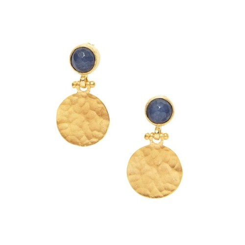 Blue Agate Hammered Disc Earrings - Ottoman Hands  (OH/E200)