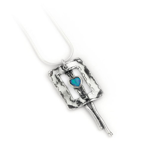 Silver chain with & pendant with heart opal - Aviv