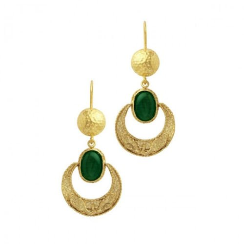 Earrings Green Onyx Moon  - Ottoman Hands ' CAZIBE ' (OH/E205)