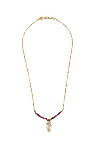 Necklace Hand of Fatima Crystal  with Rubies Ottoman Hands  (OH/N230)