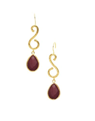 Red Agate Earrings - Ottoman Hands (OH/E217R)