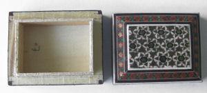 Trinket Box Persian Handmade patterned wood  (TBpattsq1)