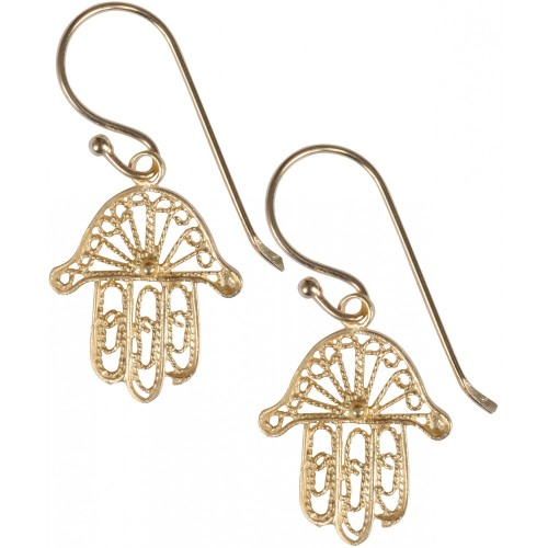 Hand of Fatima Earrings - Gold Plated filigree (218)